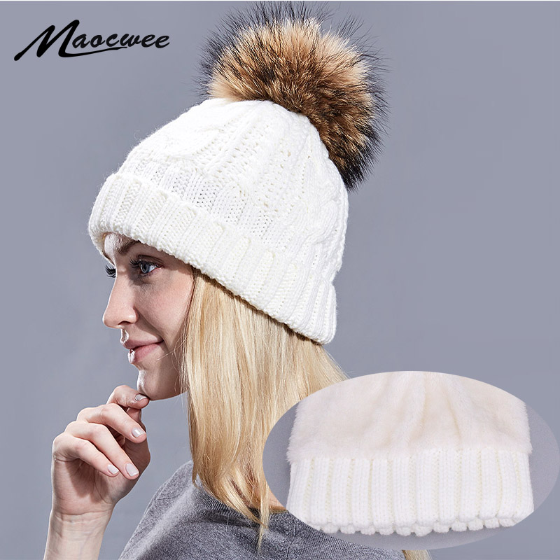 Winter Women Pom Pom Hats Lining Heater   Beanies   Add velvet Fleece Inside Warm Solid Black White Cap Nature Fur Pompom Hats Caps