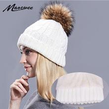 Zimowe damskie czapki z pomponem podszewka grzałka czapki dodaj aksamitna bluza wewnątrz ciepła solidna czarna biała bluzka futro naturalne czapki z pomponem czapki tanie tanio Skullies czapki Na co dzień Wełna Poliester Bawełna Unisex MAOCWEE TM066 Stałe Dla dorosłych Winter Fur Hats Hat Female