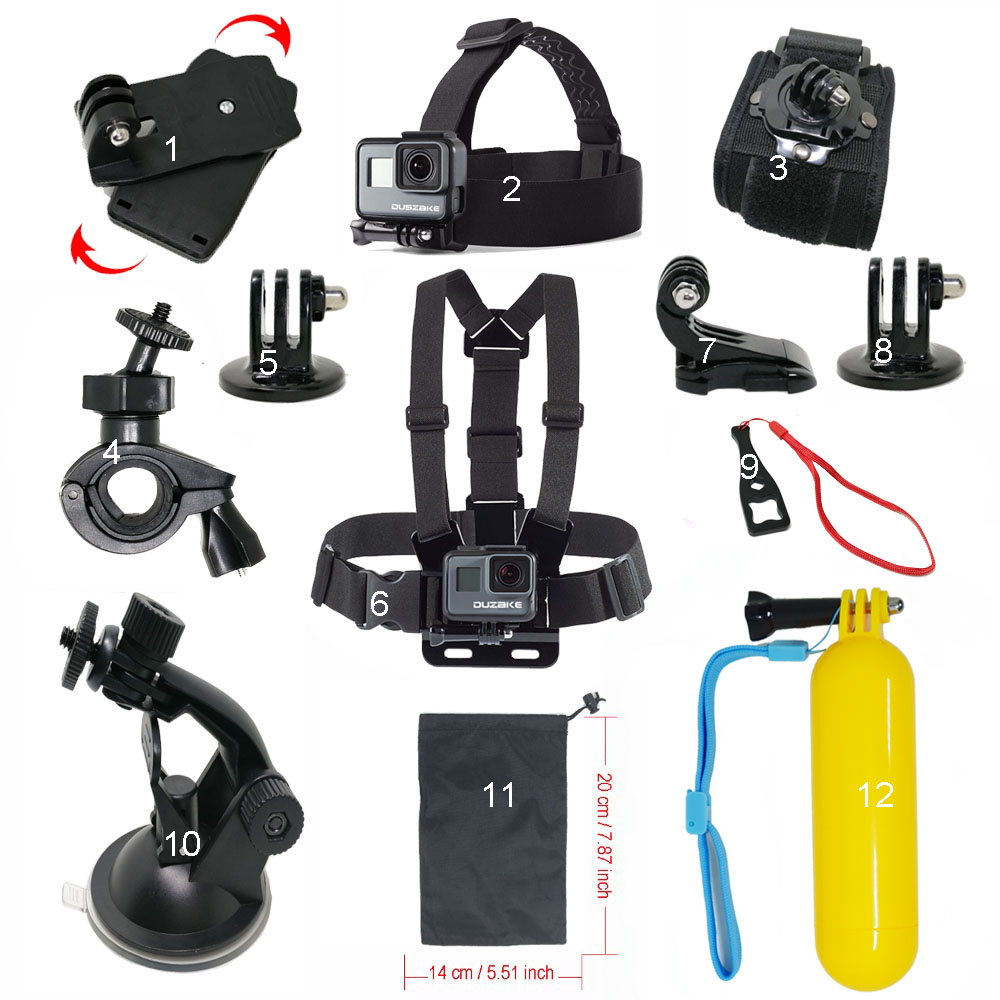Kit For Gopro Hero 5 Accessories Car Mount Chest Mount For Eken Head Strap For Yi 4K Monopod For Gopro Hero 6 5 Action Camera gopro wrist strap mount arm strap mount hook