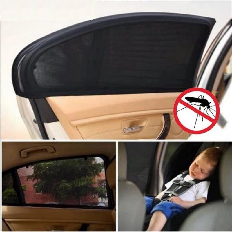 Image 1 - 2pcs Car Side Window Sunshade Auto Sun Shades For Windshield Mesh Solar Mosquito Dust Protection Curtain UV Car Window Cover-in Side Window Sunshades from Automobiles & Motorcycles