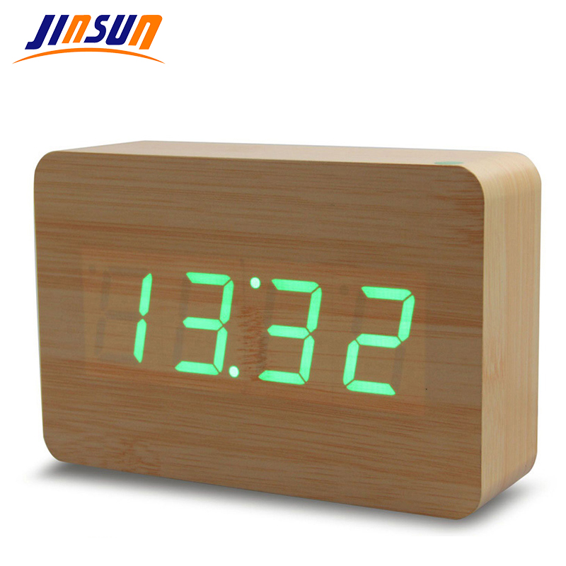 JINSUN Creative design,<font><b>LED</b></font> Display light alarm wood clock,digital alarm clock,Sound control,novelty gift <font><b>Wekker</b></font> KSW107