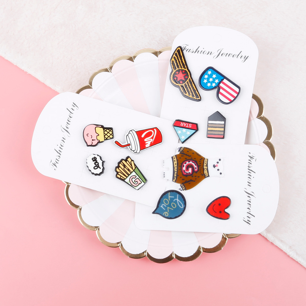 1~4pcs/set Lovely Cartoon Icons On The Pin Kawaii Icon Badge On Backpack Badges For Clothing Acrylic Badges Apparel Fabric