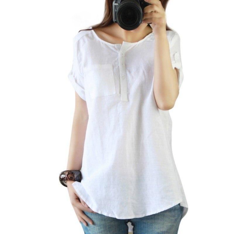 fbd621405 Nova Soma Verão Camisas Mulher Roupas Casuais Mulheres de Manga Curta  Soltas de Algodão De Linho