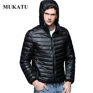 Image 1 - 男性パーカー冬ダウンコート90%白いアヒルダウンジャケット超光プラスサイズ冬ブランドダウンジャケット男性フード付き上着コート
