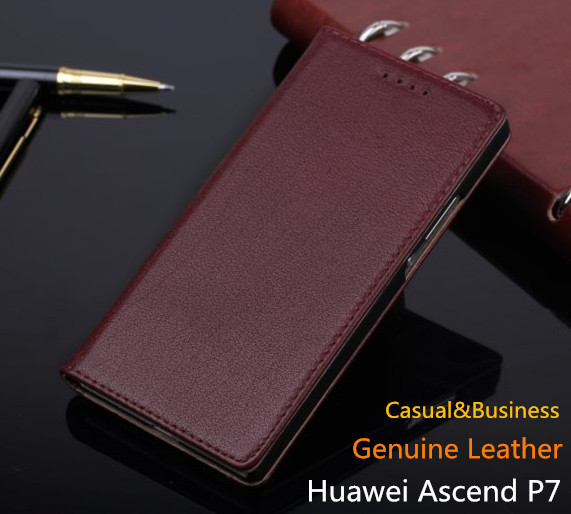 Business 100 Cowhide Leather Cover for Huawei P7 Genuine Leather Case for Huawei Ascend P7 Retro