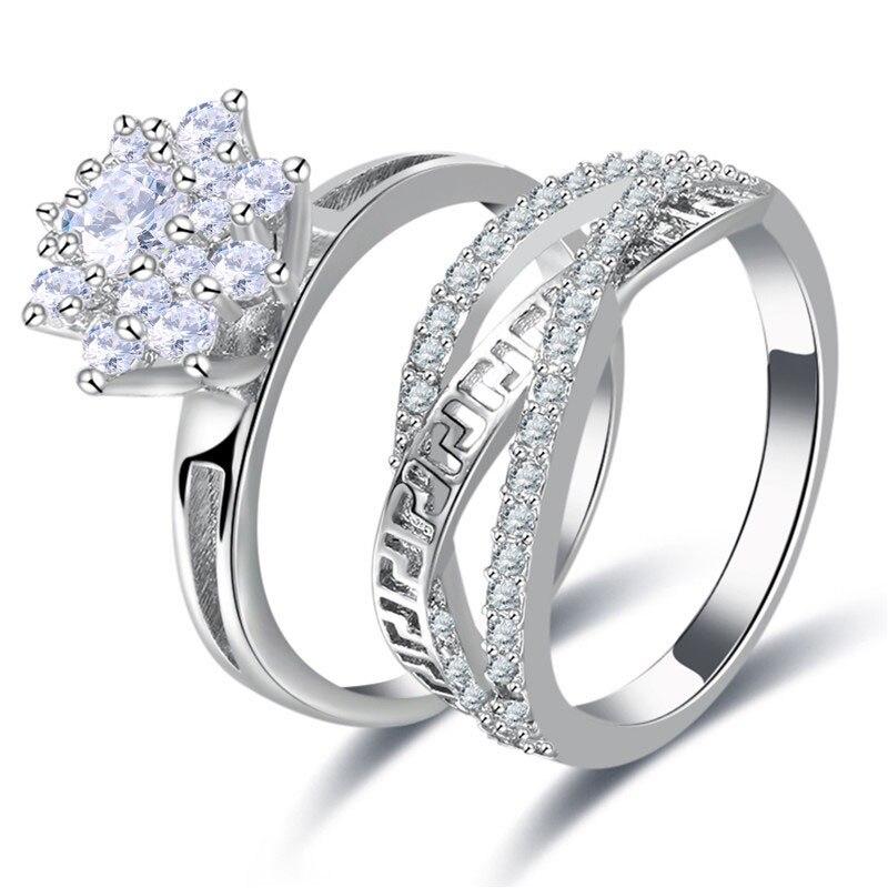 Women 2pcs Crystal Cross Rings Wedding Sparkling Finger Rings Set Jewelry KQS8