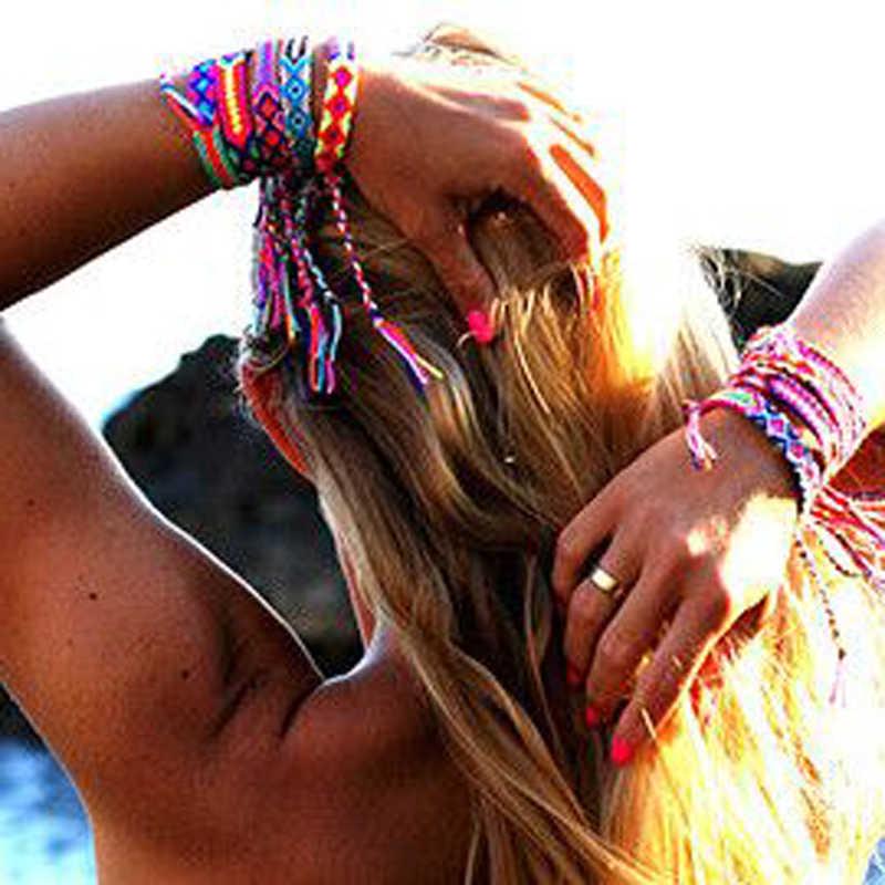 MOON GIRL Бразилия Boho ручная плетение плетеные браслеты для женщин богемные винтажные хлопковые веревки дешевые Этнические браслеты с подвесками ювелирные изделия