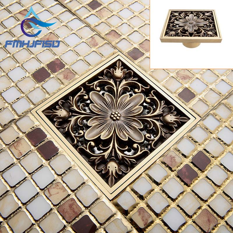 Free Shipping ! Antique Brass Art Carved Flower Floor Drain Bathroom Shower Square Drain Strainer Wholesale & Retail free shipping high quality antique brass carved flower art bathroom accessory floor drain waste grate100mm 100mm yt 2110
