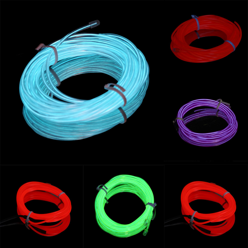 4M font b EL b font Wire Tube Rope Battery Powered Flexible Neon Cold Light Car