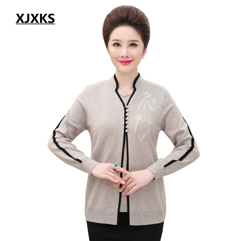XJXKS 2019 sweater Women autumn and winter Fashion novelty new Mandarin Collar pullover knitted fake two