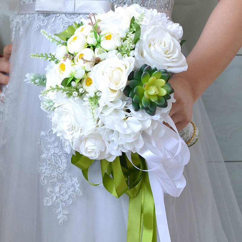 White Bride Hand Flowers Succulents Wedding Bridal Bouquets with Ribbon Simulation Plants Artificial Silk Flower Wedding