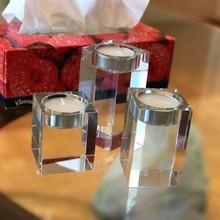Crystal Candle Holder Set Of 3 Tealight Candlestick Candle Strands 6cm 8cm 10cm