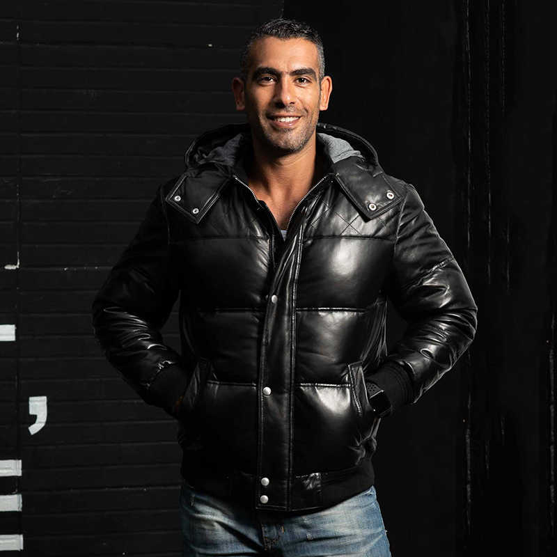 782861078ef 2018 модная зимняя пуховая куртка из натуральной кожи Мужская черная овечья  кожа толстые пальто повседневная короткая