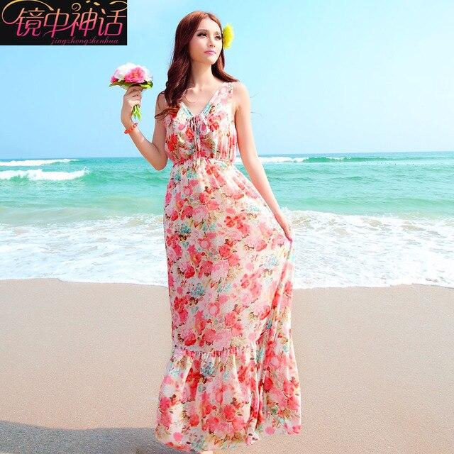 2039cf5fbf9 Free shipping 2013 chiffon one-piece dress bohemia sweet full dress vest beach  dress