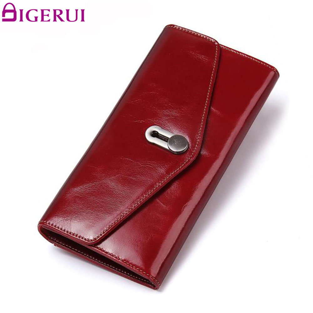 DIGERUI Women Purse Genuine Leather Female Luxury Brand Cow Leather Wallet Coin Card Holder Female Clutch Women Red Purse SJ020