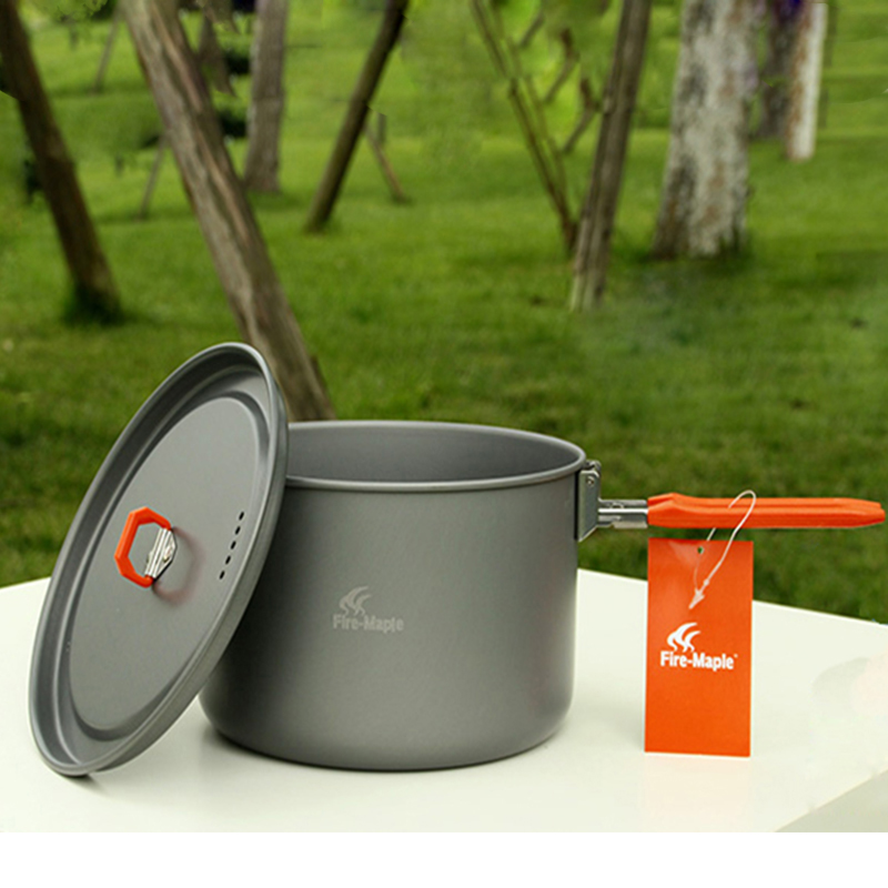 Offre spéciale 4-5 personnes batterie de cuisine 2 casseroles et théière et poêle Camping en plein air randonnée pique-nique marmite set feu érable fête 4 - 2
