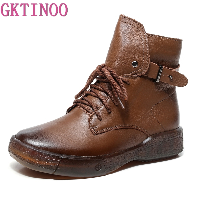 GKTINOO Winter Boots Women Genuine Leather Ankle Boots Plush Inside Handmade Soft Flat Shoes Retro Women
