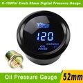 2inch 52mm  Car Digital Display PSI Oil Pressure Gauge Meter With Sensor 0~120 Black Blue LED Auto GaugeYC100043