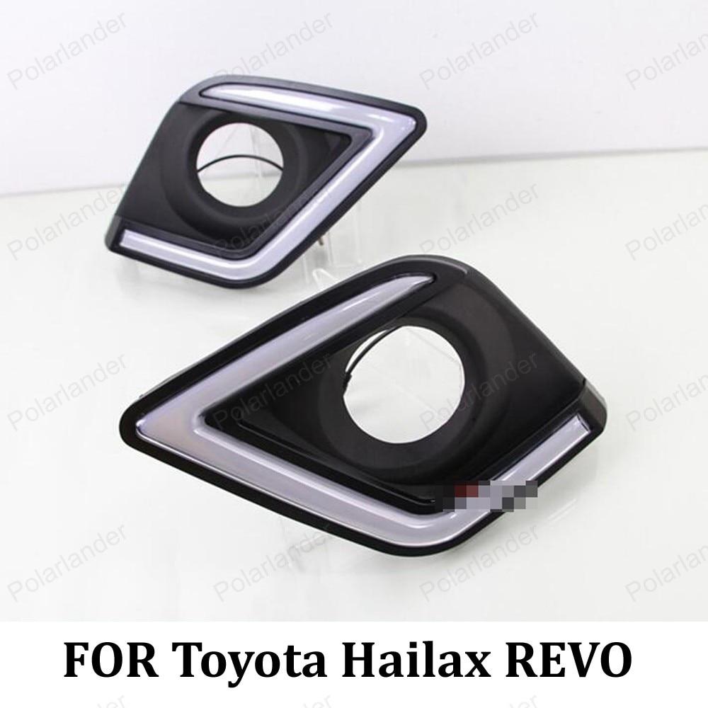 front fog light turn signals lamp car DRL for T/oyota H/ILUX R/EVO 15 16 LED daytime running lights