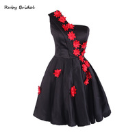 Ruby Bridal 2017 Vestidos De Fiesta Black Taffeta Red Flowers Mini Prom Dresses Luxury A line Strap Short Prom Party Gown LP041