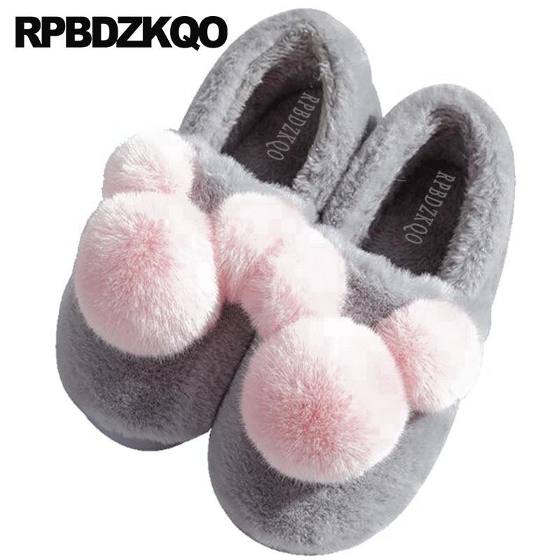 Fur House Floor Fuzzy Plus Size Bedroom Footwear Women Plush Pom Big Fluffy Wide Fit Shoes