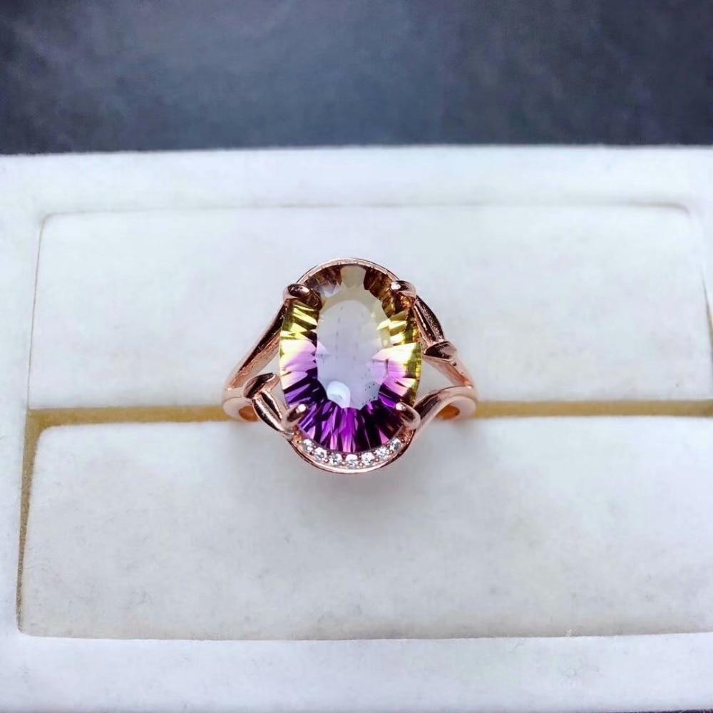 Shilovem 925 en argent sterling piézoélectrique ametrine anneaux bijoux fins femmes à la mode fête classique nouveau mariage mj101482agzj