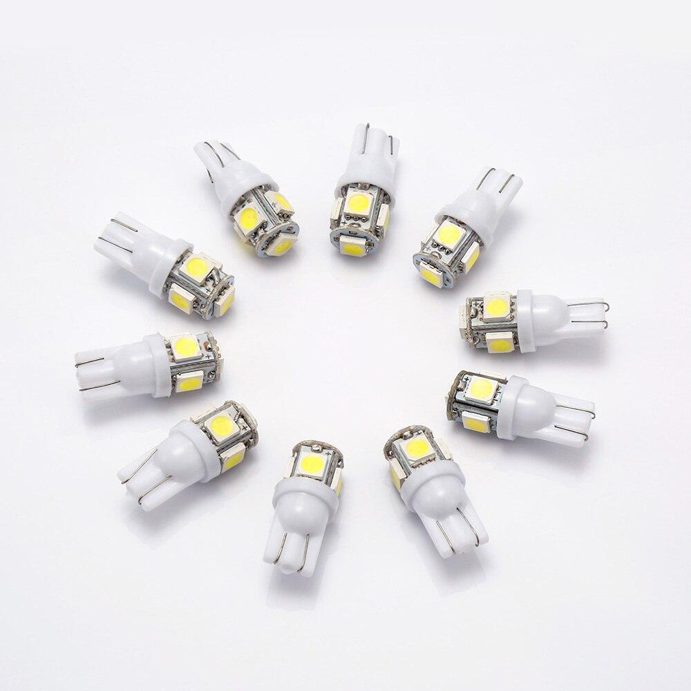10 pces lâmpada de sinal t10 led carro lâmpada w5w 194 168 led t10 lâmpadas led para carros branco 5w5 afastamento backup reverso luz 12 v