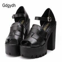 Gdgydh Fashion 2017 new summer wedges platform sandals women Black and White open toe high heels