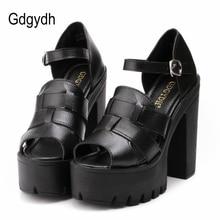 Gdgydh Fashion summer wedges platform sandals women Black White open toe high heels female shoes gladiator