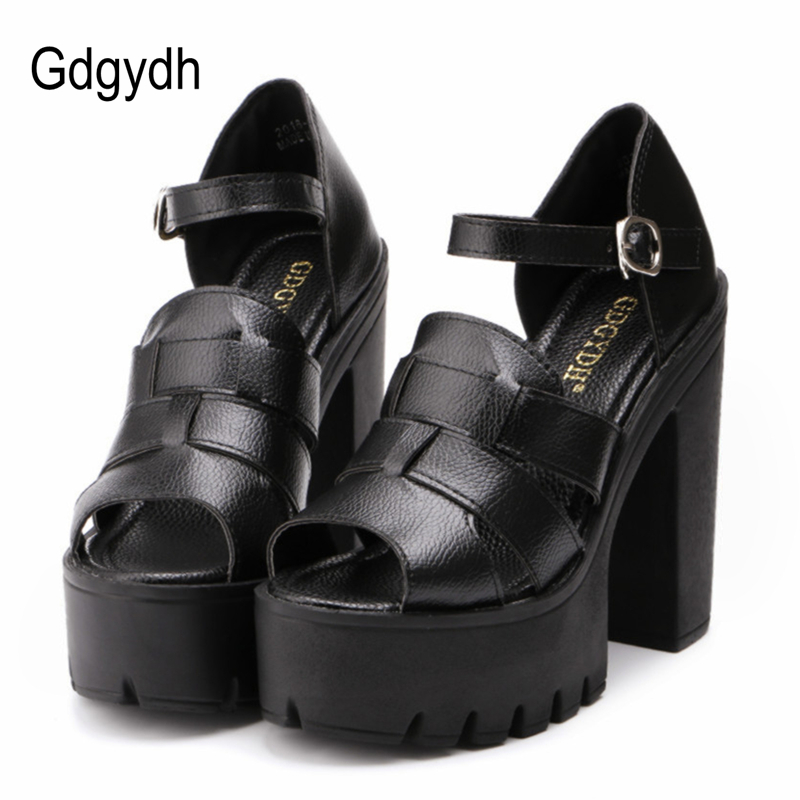 Gdgydh Fashion summer wedges platform sandals women Black White open toe high heels female shoes gladiator sandals ankle strap
