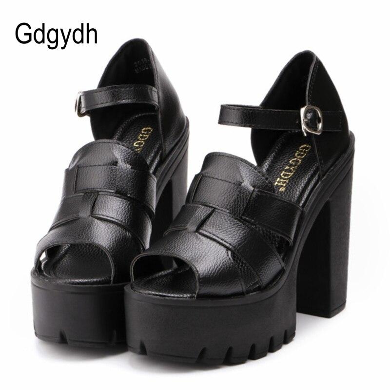 Gdgydh cunei di estate di Modo sandali della piattaforma delle donne Nero  Bianco open toe tacco alto femminile scarpe sandali gladiatore cinturino  alla ... 3cb427d1f54
