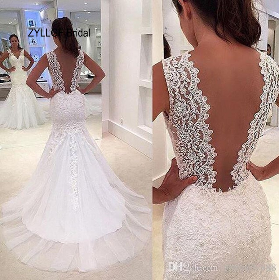 Buy zyllgf bridal romantic mermaid v neck for Mermaid wedding dresses with feather bottom