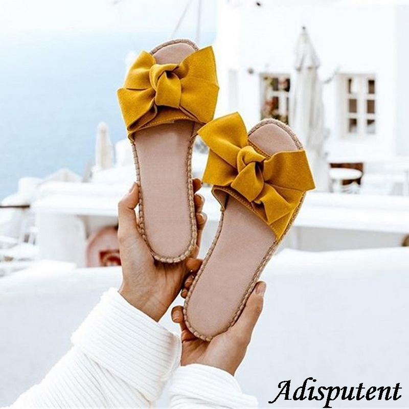 Adisputent Slippers Women Summer Bow Summer Sandals Slipper Indoor Outdoor Flip-flops Beach Shoes Female Fashion Shoes 2019Adisputent Slippers Women Summer Bow Summer Sandals Slipper Indoor Outdoor Flip-flops Beach Shoes Female Fashion Shoes 2019