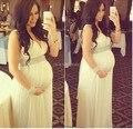 Elegante Rhinestone v-cuello de la correa piso longitud vestido de noche embarazada vestido de fiesta 2014 por encargo de la venta