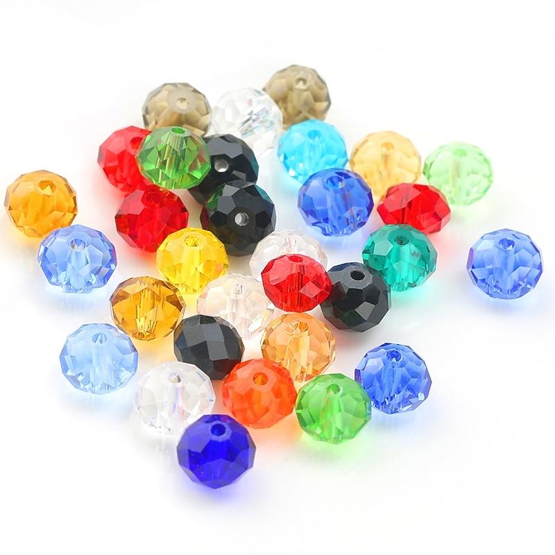 Nagy méretű 12 mm-es, 14 mm-es, csiszolt 16-színű, köztes gyöngyök Kerek alakú kristály gyöngyök üveggolyó gyöngyökön laza gyöngyök ékszerek készítéséhez DIY
