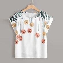 Летняя модная блузка с цветочным принтом размера плюс, повседневная сексуальная свободная футболка с круглым вырезом, женская рубашка с коротким рукавом, блузка, пуловер