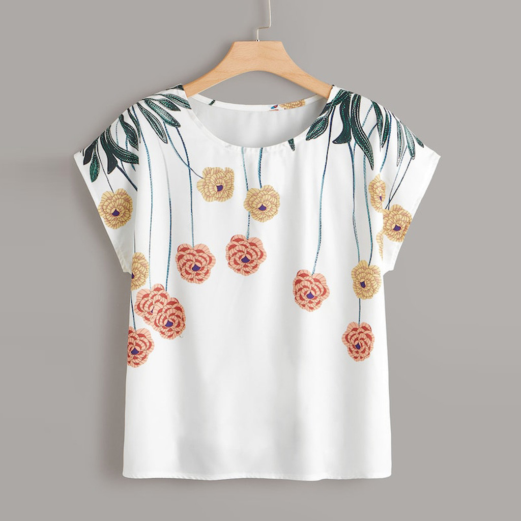 Plus Size Summer Fashion Floral Print Blouse Casual Sexy O-Neck Loose Tee Tops Female Women's Short Sleeve Shirt Blusas Pullover