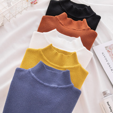 2018 hot sale Korean Autumn Winter Knitted Sweaters for Woman Pull Femme Slim Comfortable Turtleneck Long Sleeve dress