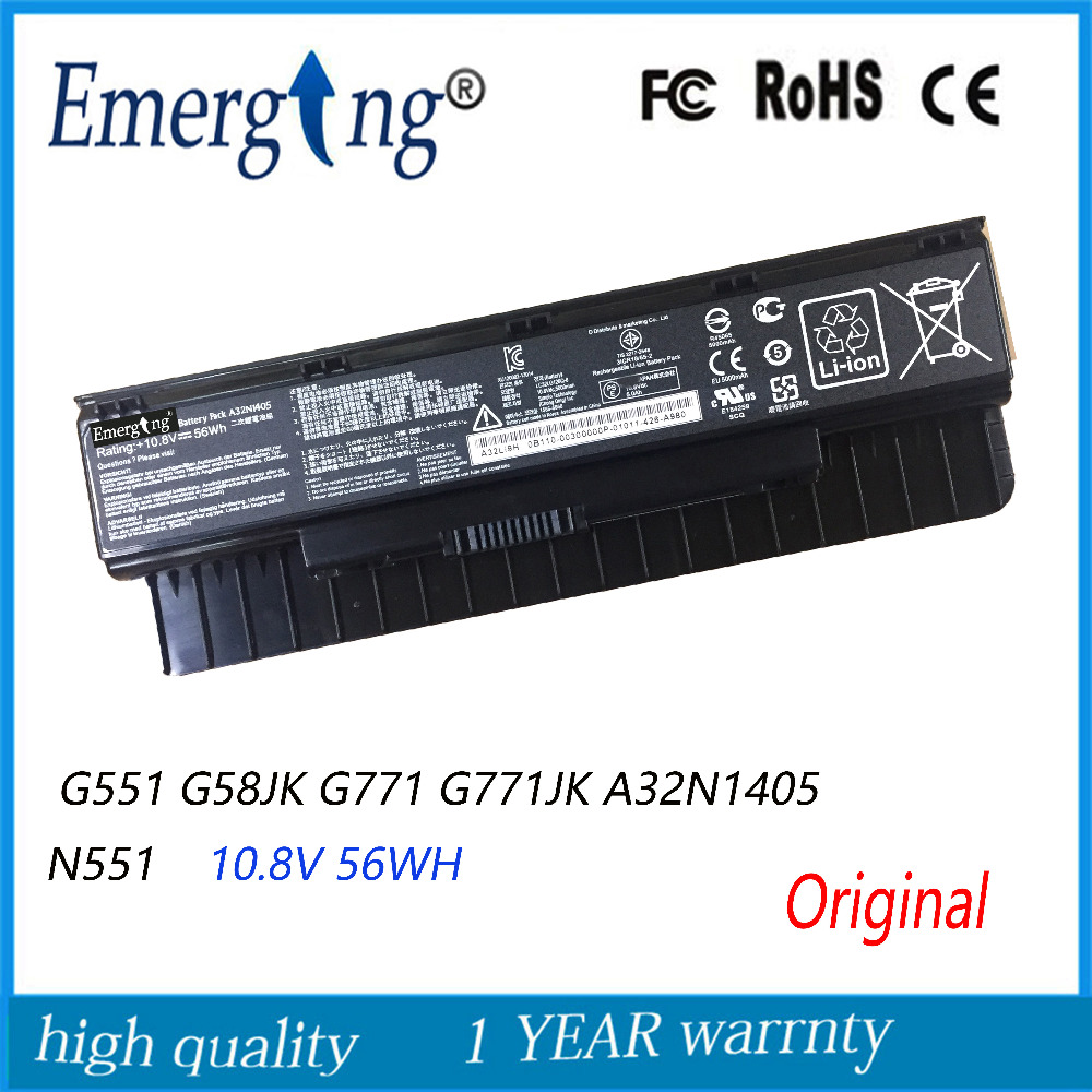 10.8V 56WH Original New Laptop Battery for ASUS G551 G58JK G771 G771JK A32N1405 N551 10 8v 56wh original new laptop battery for asus g551 g58jk g771 g771jk a32n1405 n551