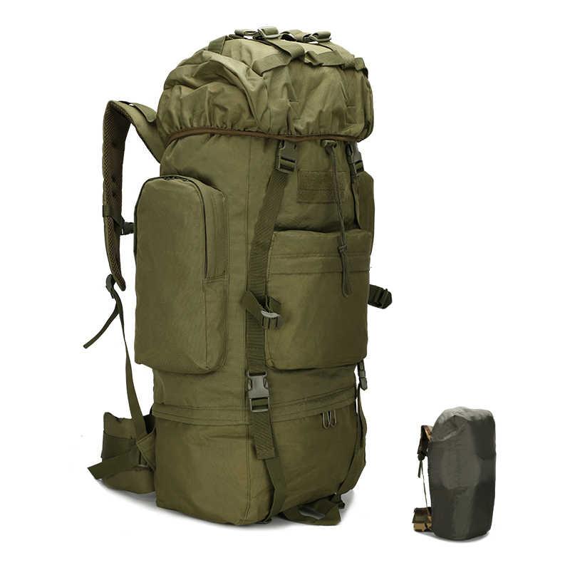 70L في الهواء الطلق تسلق المشي لمسافات طويلة على ظهره مع غطاء للمطر فائدة العسكرية مول التكتيكية حقيبة الظهر مقاوم للماء الرحلات حقائب التخييم