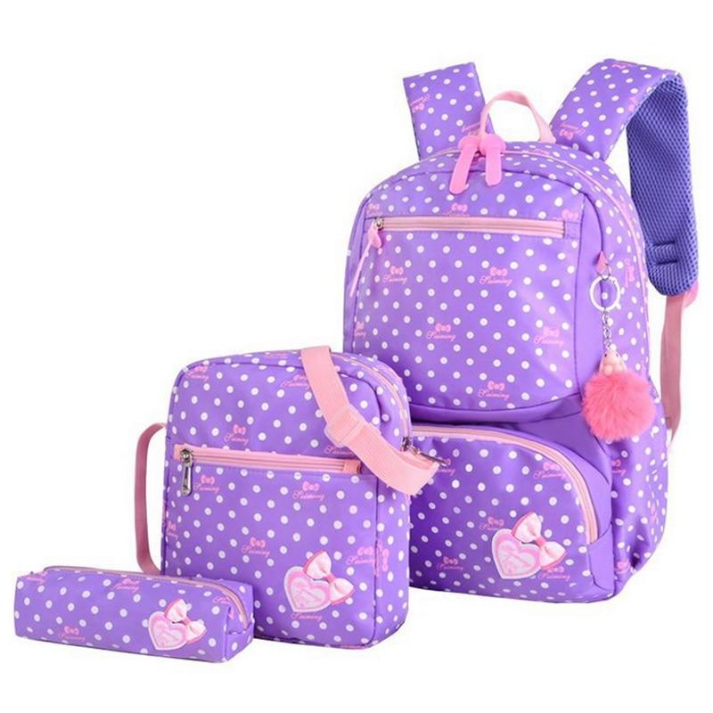 3pcs Fashion School Backpacks Children Kids Lightweight Printing Bags Teenager Girls Travel Bag School Backpack Schoolbag(China)
