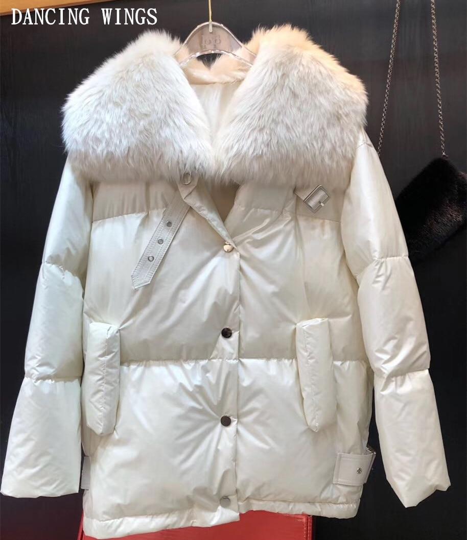Winter Jacket Women Real Fur   Coat   Parka Natural Wool Fur Collar 90% White Duck   Down     Coat   Outerwear