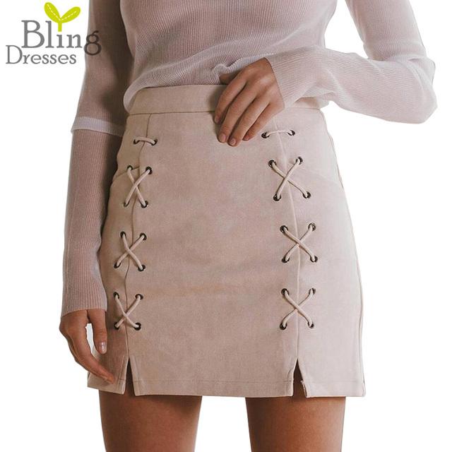 2016 Mulheres Da Moda Outono Lace-up Camurça Lápis de Couro Saia Cruz Inverno Saia de Cintura Alta Com Zíper Divisão Bodycon Curto saias