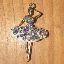 2015 New Metal Alloy Gold Plated Charms 40x25mm 10pcs For DIY Jewelry Bracelet Necklace Fashion AB Crystal Ballet Girl