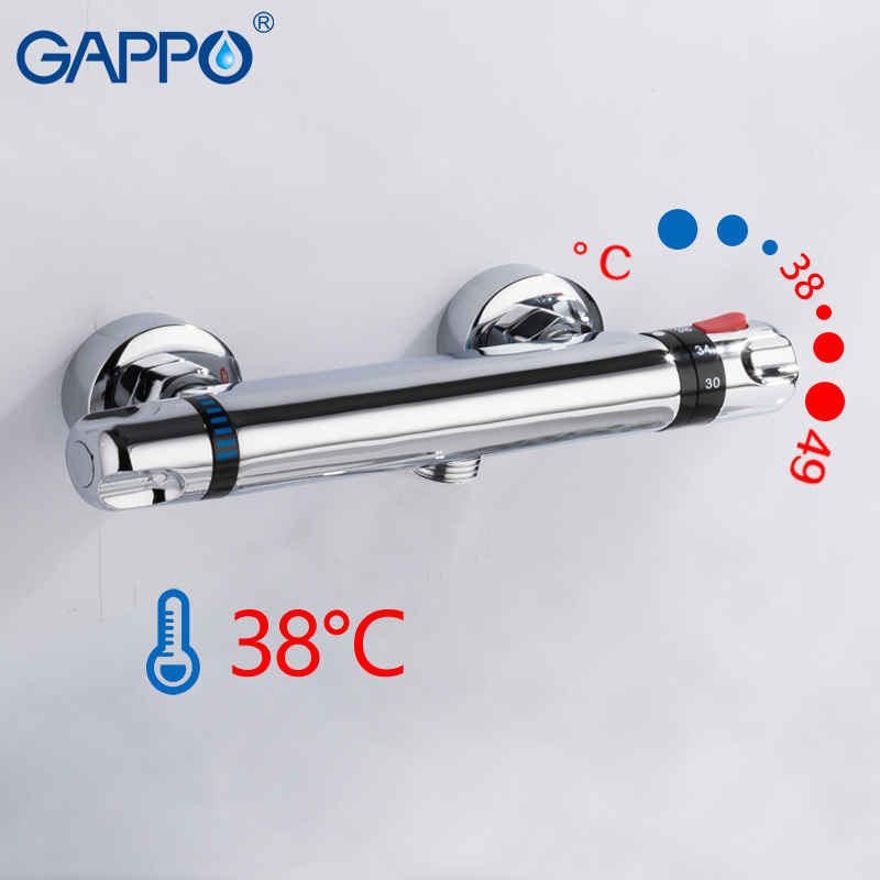 GAPPO  Thermostatic Bath Shower Control Valve Bottom Faucet Wall Mounted Hot And Cold Brass Bathroom Mixer Bathtub Tap