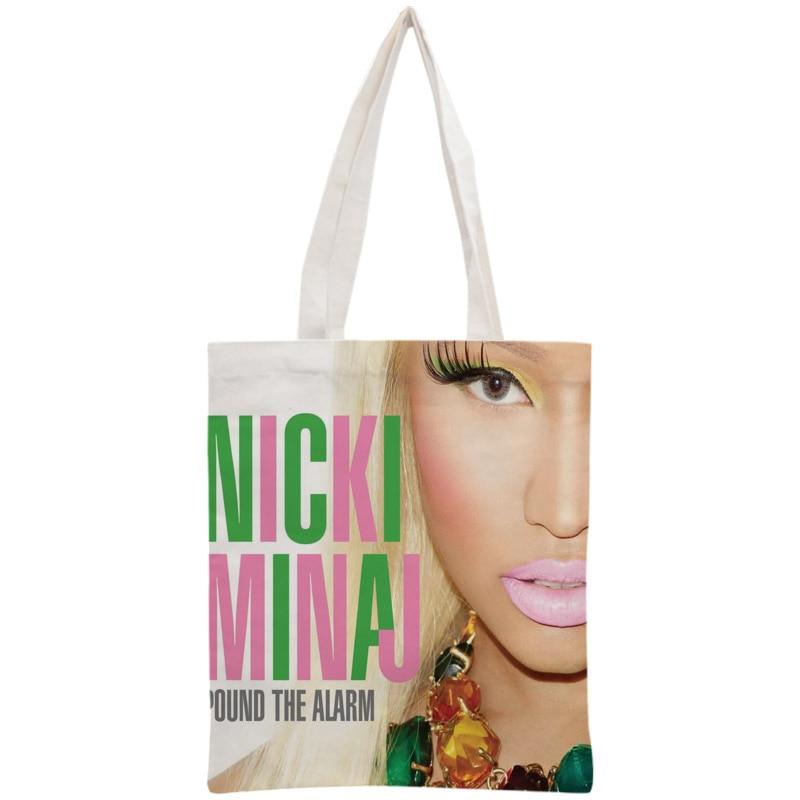 Custom Nicki Minaj Tote Bag Reusable 30x35cm Two Sides Handbag Shoulder Pouch Foldable Canvas Shopping Bags