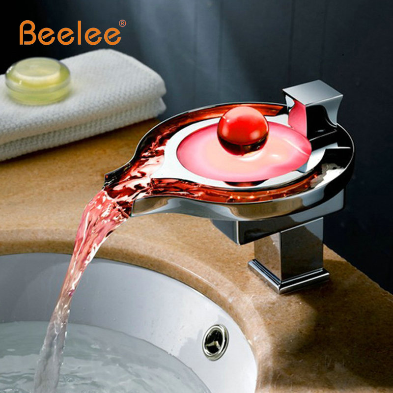 Robinet de salle de bain Led en laiton chromé cascade salle de bain robinets de lavabo 3 couleurs changement Led robinet d'eau puissance bassin led mélangeur robinet à Led - 2
