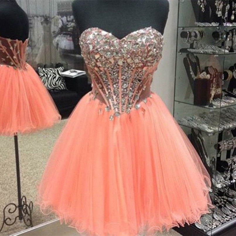 fded00fc866 Bright Coral Orange Rhinestoned Ball Gown Sweetheart Neckline Mini  Homecoming Dress Cocktail Dresses