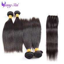 Yuyongtai Straight Hair Extensions Peruvian Hair Bundles With Closure Human Hair 4 Bundles Remy Hair No Shedding Free Shipping