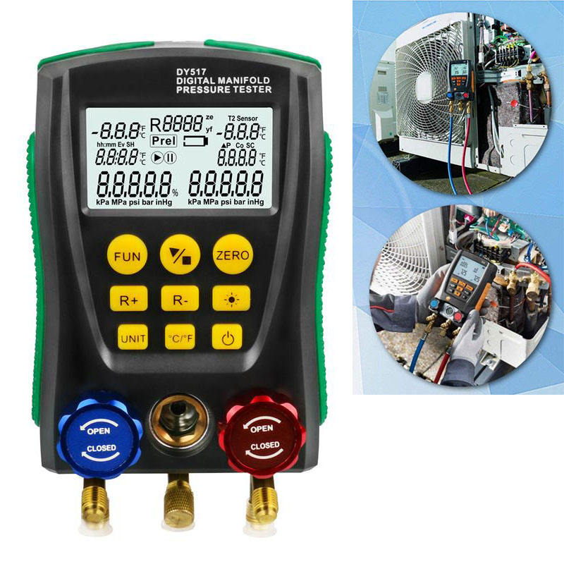 Refrigerantion דיגיטלי סעפת מד מד HVAC טמפרטורת לחץ ואקום בודק דליפת מבחן רכב Tescar אבחון כלי